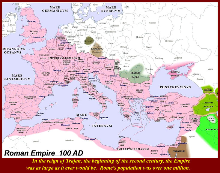 Ancient Roman Empire Cities Map Roman Empire in 100 ad a Map