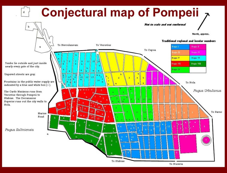 Ruins Location Ruins of Pompeii Location Map