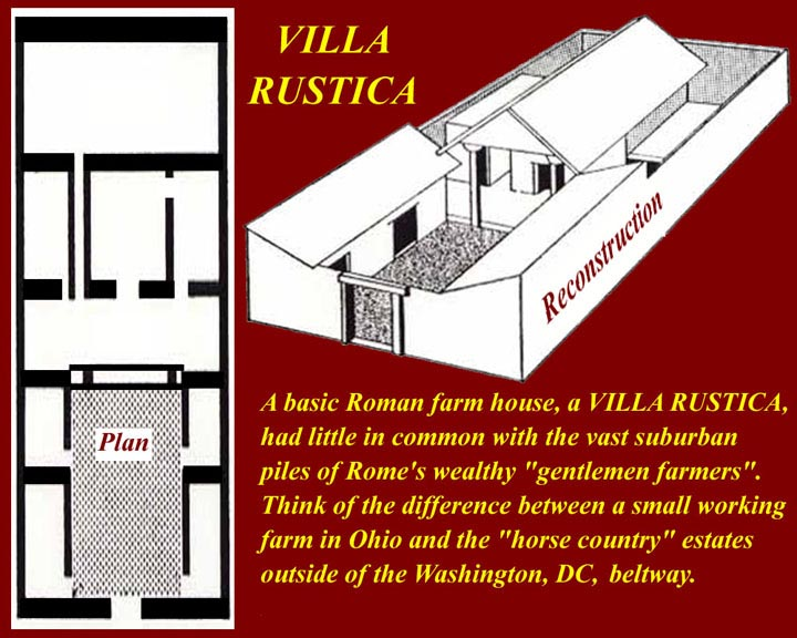 ancient roman villas were country homes, and they spanned a continuum from  simple farm houses through huge complexes that may or may not have any