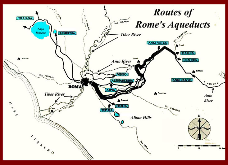 Figure 2: Map of Rome's 11 Aqueducts
