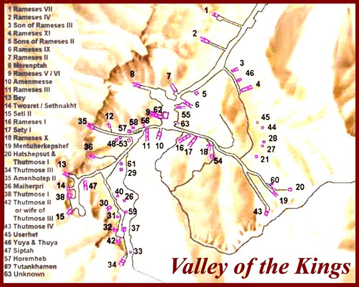 Treasure Valley Of The Egypt Kings From W Triton World - Map of egypt showing valley of the kings