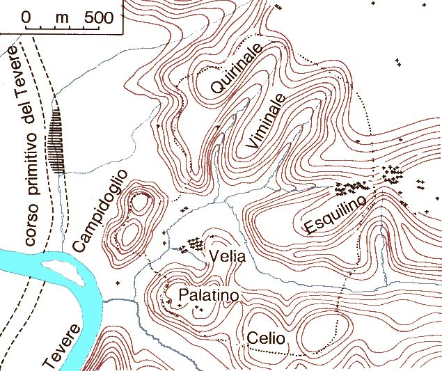 Topographic Map Of Rome.Topographic Map Of Ancient Rome Italian Guide