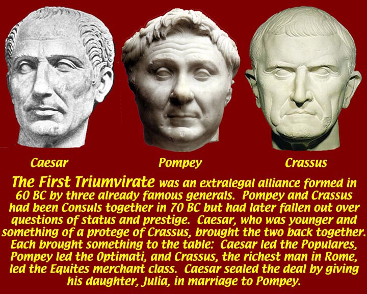 the first triumvirate Contents - previous article - next article the first and second triumvirates emperors ad 244 - 249 triumvirate comes from the latin word trivmvir, which means a.
